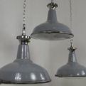 Set of 3 grey pendants with convex glass