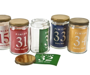 Set of Five 1950's Paint Sample Jars and Labels at Relique