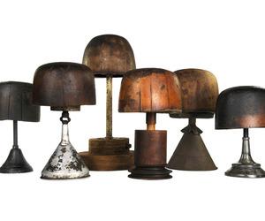 Set of Six Antique Millinery Hat Blocks on Bases