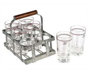 Set of Six French 23f Wine Glasses in Zinc Caddy