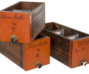 Set of Three Vintage Industrial Factory Bolt Storage Drawers