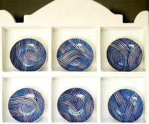 shelving for blue spaghetti porcelain by John Newdigate