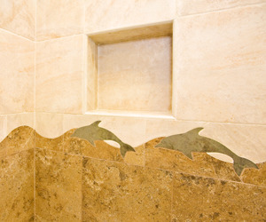 Shower Tile Niche with Dolphin Motif