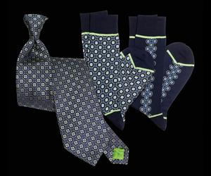 Signature Navy Spheres Tie and Socks