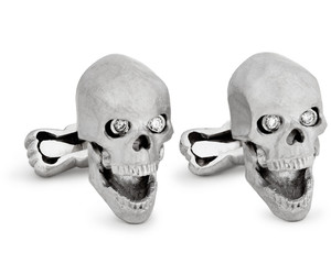 Skull Cufflinks with Diamond Eyes