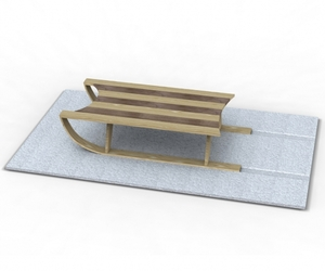 Sled Coffee Table and Snow White Rug by Duffy London