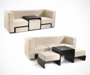 Slot Sofa with Coffee Table and Footrests