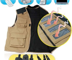 Solar Charger Vest for Portable Electronics