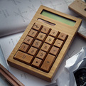 Solar Powered Calculator Made of Bamboo