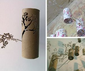 Spellbinding corner forest carved out of toilet paper rolls
