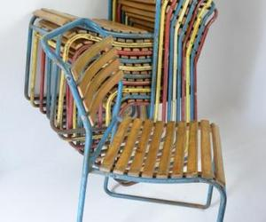 Stacking slatted chairs