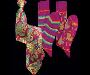Stanley Lewis Fuschia Paisley Printed Tie And Socks