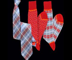 Stanley Lewis O'Connor Denim & Red Tartan Tie And Socks