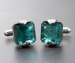 Stanley Lewis Solitaire Jade Silver Cufflinks