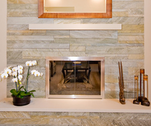 Stone Fireplace in Los Altos by Master Stonemason