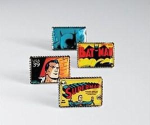 Superman and Batman Stamp Cufflinks