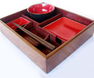 Suteki Box Bento style sushi tray, recycled oak wine barrel
