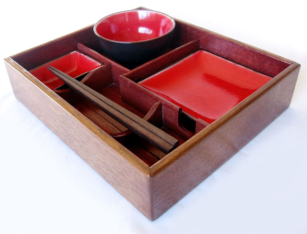 Suteki Box Bento Style Sushi Tray Recycled Oak Wine Barrel