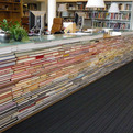 Table Made of Books in Library