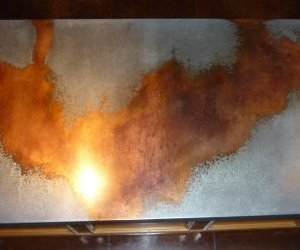 Table top, counter top, galvanized copper drip technique