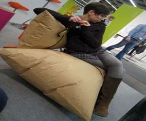 The Blow Sofa is Made from 100% Recycled Paper Dunnage Bags