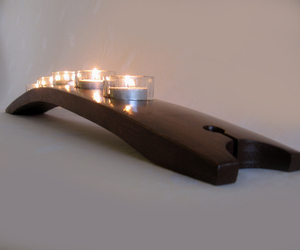 The Moonlight, recycled wine barrel stave candleholder