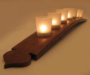 The Pagoda, recycled wine barrel stave candleholder