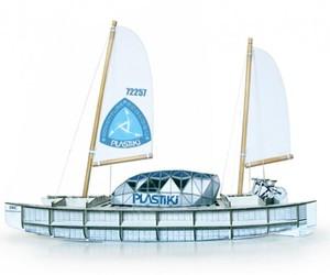 The Plastiki model ship made of paper