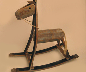 The Rocking Green Horse, recycled wine barrel staves