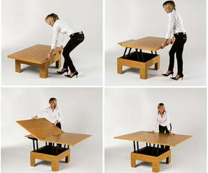 This coffee-cum-dining table saves space!