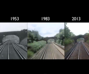 Timelapse of Train Ride in 1953, 1983, and 2013