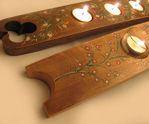 Tiny Daisies, recycled Oak Wine Barrel Stave Candleholder