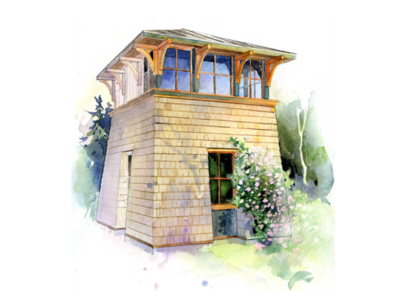 Tower studio plan by the perfect little house company for House turret designs