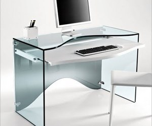 Transparent Glass Desk – Strata By Tonelli