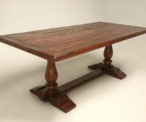 Trestle Dining Table with Rustic Plank Top