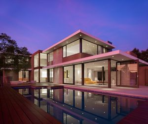 Two-Level Minimalist Pink House