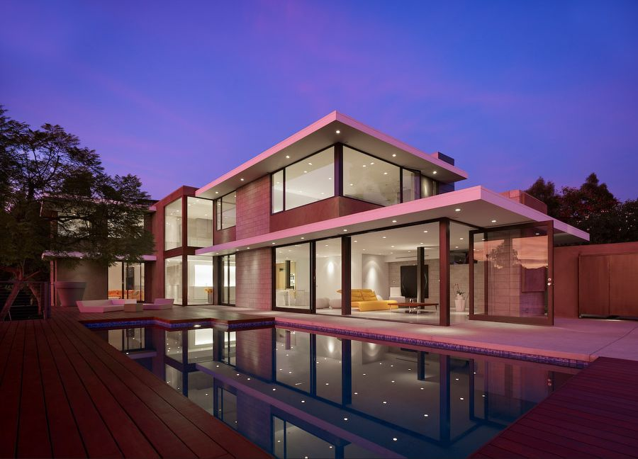 two level minimalist pink house