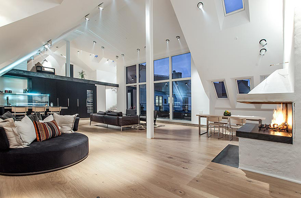 ultra modern swedish pad with a loft. Black Bedroom Furniture Sets. Home Design Ideas