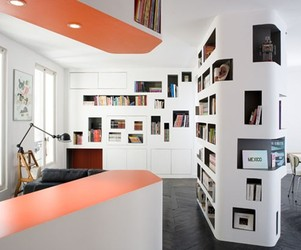 Unusual Bookcase Design by h2o Architectes