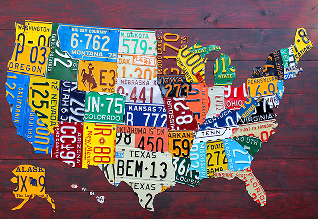 Us License Plate Map By Design Turnpike - Us-plates-map