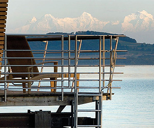 Views of Alps From A Lakefront Hotel