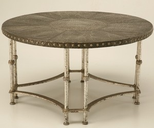 Vintage French 40s Hammered Steel Coffee Table