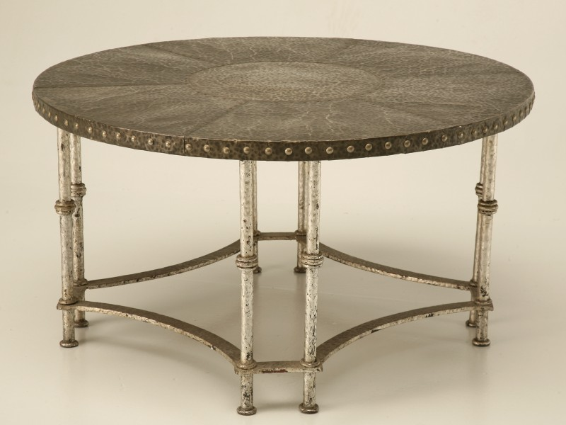 Vintage French 40s Hammered Steel Coffee Table ...