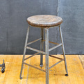Vintage Industrial Angle-Steel Inc. Oak top Stool
