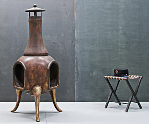 Vintage Industrial Cast Iron Chiminea Outdoor Fireplace