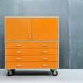Vintage Industrial Orange Steel Loft Artist Atelier Cabinet