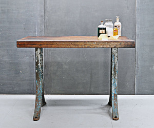 Vintage Industrial Pine Pier and Cast Iron Work Table