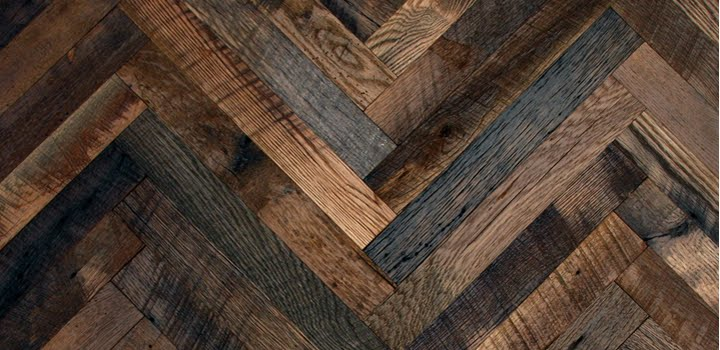 Vintage oak herringbone reclaimed wood floors for Recycled wood floor