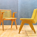 Vintage Richard Neutra Inspired Plywood Flag Cord Chairs