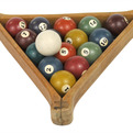 Vintage Set of 16 Miniature Pool/Billiard Balls in Wood Rack